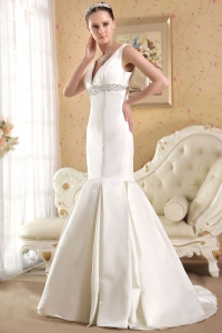 V-neck Court Train Satin Beading Mermaid Wedding Bridal Gown
