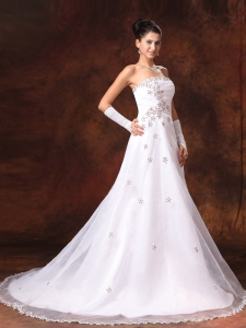 Custom Made Organza Court Train Church Wedding Dress Appliques