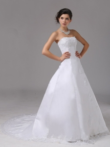 A-line Strapless Organza Wedding Dress Brush Train Appliques