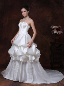 Beading Pick Up Strapless Taffeta Wedding Dress Court Train