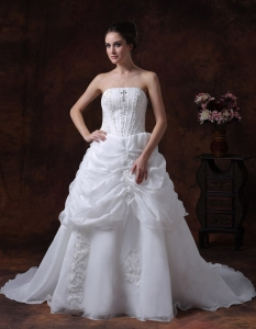 Beading Organza Court Train Ruffles Wedding Dress White
