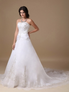 Chapel Train Appliques Wedding Dress Organza and Taffeta