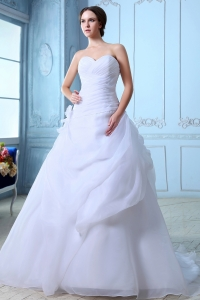 Sweetheart Court Train Organza Ball Gown Wedding Dress Ruch