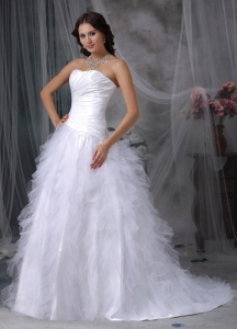 Ruffles Wedding Dress Sweetheart Court Train Taffeta and Tulle