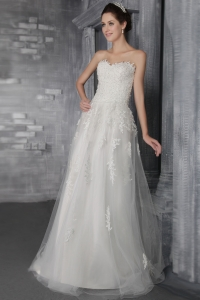 Empire Sweetheart Brush Train Tulle Lace Wedding Dresses