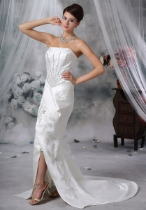 Mermaid Satin Beading Wedding Dress Court Train Slt White
