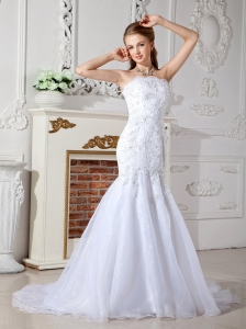 White Mermaid Court Train Organza Wedding Dress Appliques