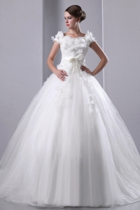 Scoop Neck Chapel Train Tulle Wedding Dress Hand Made Flowers