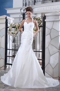 Halter Mermaid Sweetheart Taffeta Wedding Dress Court Train