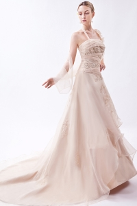 Champagne Halter Court Train Organza Prom Dress Appliques