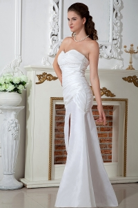 Sheath Sweetheart High Slit Taffeta Ruching Wedding Dress