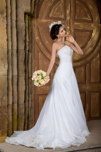 Customize A-line Embroidery Court Train Organza Wedding Dress
