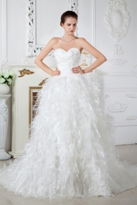 Sweetheart Chapel Train Satin Feather Beading Wedding Dress