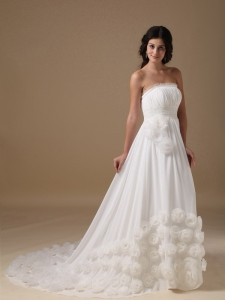 Chiffon Hand Made Flowers Wedding Dress Court Train Zipper