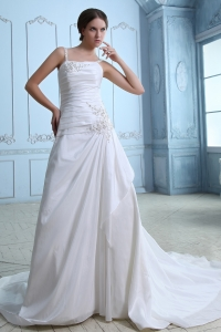 Straps Court Train Wedding Dress Taffeta Ruch and Appliques