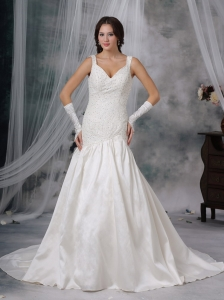 Taffeta V-neck Straps Wedding Dress Court Train Beading