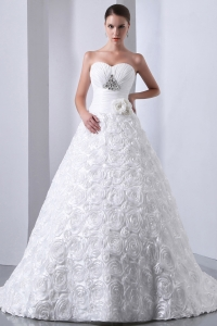Wedding Dress With Rolling Flowers Sweetheart Brush Train A-line