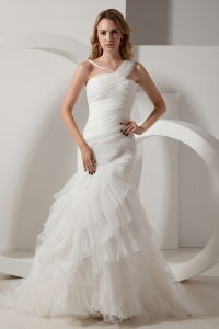 Organza One Shoulder Mermaid Court Ruffles Wedding Dress