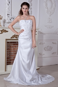 Ruched A-line Court Train Satin Wedding Dress Embriodery