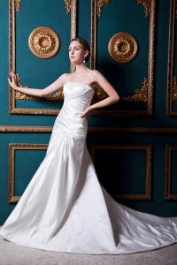 Modest A-line Court Train Wedding Dress Satin Appliques