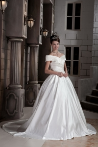 Off The Shoulder Cap Sleeves Court Satin Ruch Wedding Dress