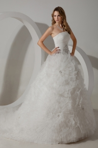 Strapless Court Train Tulle Ball Gown Wedding Dress Beading