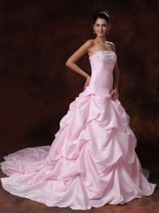 Baby Pink Chapel Train Taffeta Wedding Dress Appliques Pick-ups