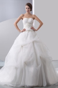 Chapel Train Taffeta Organza Wedding Dress Beading Appliques
