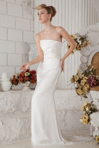 Strapless Column Brush Train Chiffon Ruching Wedding Dress