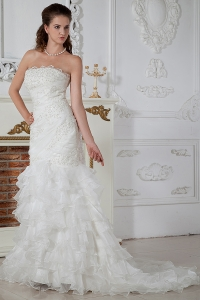 Ruch Strapless Court Train Appliques Wedding Dress Organza