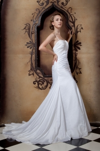 Ruch A-line Spaghetti Straps Wedding Dress Court Train Taffeta