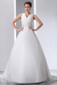Ruched V-neck Court Train Satin Organza Beading Wedding Dress