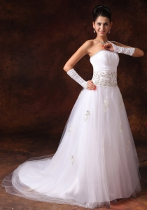 Strapless Court Train Garden Wedding Dress Tulle Appliques