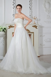 A-line Strapless Court Train Organza Ruch Wedding Dress