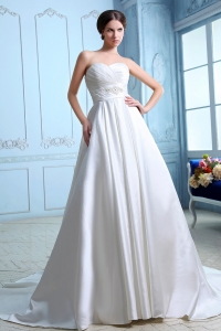 Sweetheart Court Train Satin Wedding Dress Ruch and Beading