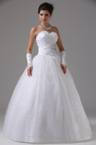 Sweetheart Beaded Ball Gown Wedding Dress Tulle Lace Up