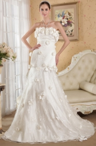 Ivory Hand Made Flowers Lace Wedding Dress Court Train Taffeta