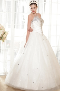 Beautiful Rhinestones Decorate Sweetheart Wedding Gowns