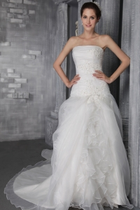 Chapel Train Organza A-line/Princess Strapless Wedding Dress