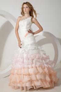 Colorful One Shoulder Mermaid Brush Organza Wedding Dress
