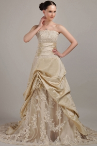 Champagne Taffeta and Floral Lace Wedding Dress Strapless