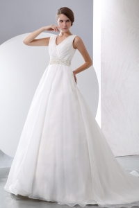 V-neck Court Train Taffeta and Organza Ruched Wedding Dress