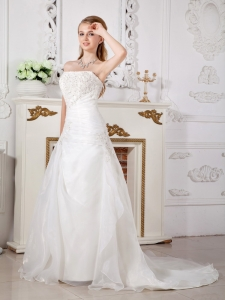 A-line Strapless Court Train Organza Lace Wedding Dress White