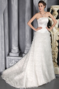 Romantic Ruched Layers Wedding Dress Brush Train Strapless