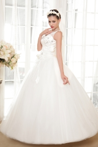 Corset V-neck Tulle Taffeta Princess Wedding Dress Appliques
