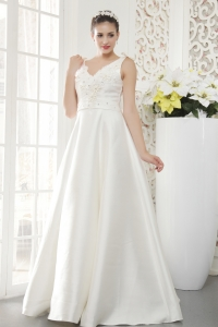 V-neck Satin Beaded Wedding Dress with Bowknot on Back