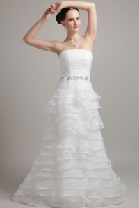 Dress with Organza Ruched and Layers for Summer Wedding