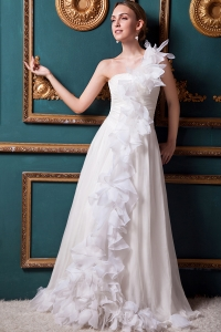Designer One Shoulder Organza Ruffles Wedding Dress 2013