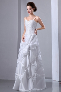 Corset Spaghetti Straps Wedding Dress Pick-ups Embroidery