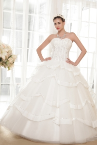 Corset Ball Gown Sweetheart Layered Wedding Dress Beading